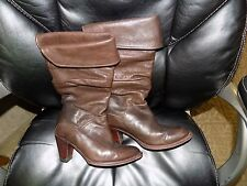 FRYE Dorado Slouch Boots 77580  Fold-Over Cuff Dark Brown Leather Size 6.5 HTF