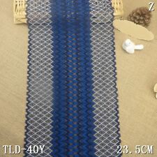 "1 Yard Elegant Stretch Delicate Scalloped Edge Lace Trim Navy/Blue 8 3/4"" Wide"