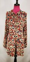 Umgee Size Large Floral Long Sleeve Dress Draw String Tie Back Waist