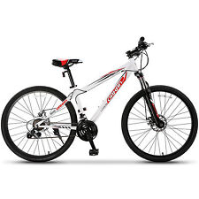 "27.5"" Men's Mountain Bike Shimano Hybrid 21 Speed Bicycle Sports White & Red"