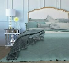 Audrey Blue 100% Cotton Coverlet Bedspread Bedcover Comforter Set 3pcs - King
