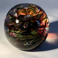"""Signed Blown Glass Paperweight-Vintage Studio Art Glass-Multicolored-Bubbles-3"""""""