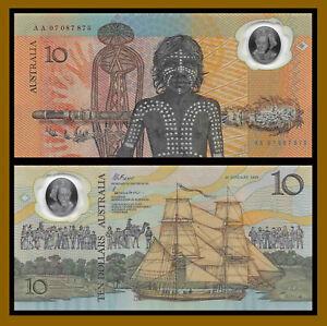 Australia 10 Dollars, 1988 P-49a A01 W/ Date Commemorative in Folder Polymer Unc