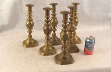 Set 6 Antique Victorian Large Brass Art Nouveau Candlesticks