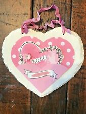 Valentine's Day Vintage Slate Heart Up-Cycled W/Paint, Card Stock, Ribbon-3437