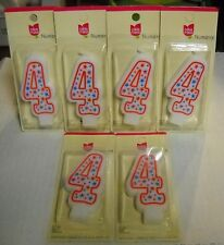 "Box of 6, Cake Mate, Number 4, 3.5"" High Birthday Candles, BRAND NEW"
