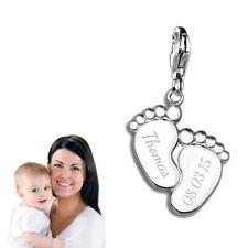 Silberpoint, Charm Anhänger Babyfüße mit Gravur -925er Sterling Silber- Neu