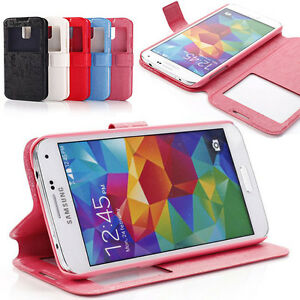 NEW Book Flip Wallet Leather Case Cover For SAMSUNG Galaxy S5