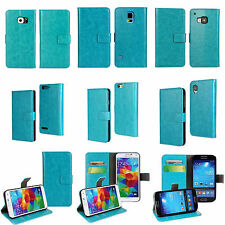 Sky Blue PU Leather Luxury Flip Stand Case Cover Open Book Credit Card Wallet