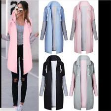 Design Windbreaker Long Coat Loose Plus Size Casual Women Simple Spring Coat HD