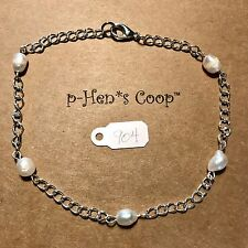 Anklet Pearl And Silver Chain 10 Inch ankle bracelet Handmade Usa 904