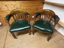 More details for wood and leather captains chairs