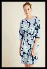 NWT Anthropologie Marimekko Sona Flora Mini Dress Blue Tie-Waist XS 34 $255