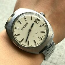 Soviet Export Wristwatch Poljot Vintage SEKONDA Men's Formal USSR Date SERVICED
