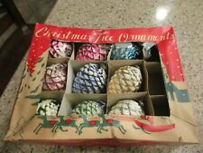 LOT OF 9 VINTAGE FROSTED PINE CONE CHRISTMAS TREE ORNAMENTS JAPAN
