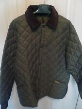 BARBOUR -QUILTED NYLON JACKET-LIDDESDALE STYLE-OLIVE-MADE @ UK- PRISTINE -LARGE