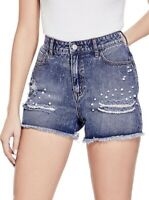 Guess pour Femme Taille Haute Noelle Perle Décoré Jeans Destroy Court Taille 27