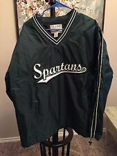 Michigan State Spartans Pullover Jacket, Men's Large, Sewn Letters, Green, Nice!