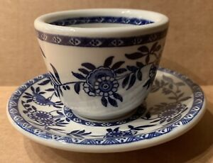 STERLING CHINA YORK RESTAURANT WARE CHINESE TEA CUP SAUCER SET BLUE DELPH FLOWER