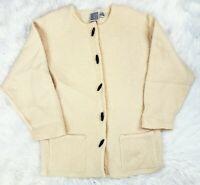 Vintage Russ Australia Cream Wool Blazer Cardigan Toggle Button Sweater Large