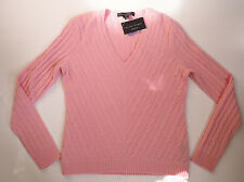 New RALPH LAUREN Black Label Slim Fit PINK Cashmere Mitered V Neck Sweater - XL