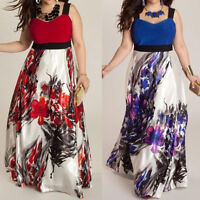 Fashion Plus Size Floral Sleeveless Beach Womens Long Dress Maxi Dress L-5XL US