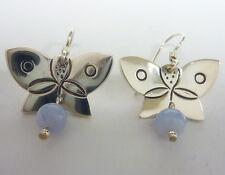 W/ Mexican Onyx, 8.1g I-5652 Very Cute, Sterling Butterfly Dangle Earings
