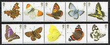 Großbritannien Schmetterlinge Mi.Nr. 3487-3496 2 Fünferstreifen vom 10.Juli 2013