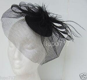 BLACK HAT NETTING VEIL FASCINATOR WEDDING ASCOT RACING HEN PARTY LADIES DAY NEW