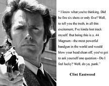 """Clint Eastwood Dirty Harry """" feel lucky"""" Quote 8 x 10 Photo Picture Photograph"""