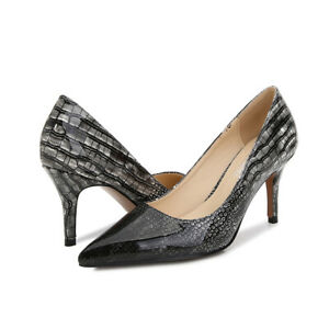 Sexy Pointed Stiletto Plus Size Pump Snake Print Splice Faux Leather Women Shoes