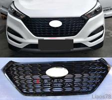 Front Mesh Grill Grilles W/ Chrome Emblem For Hyundai Tucson 2016-18 Gloss Black
