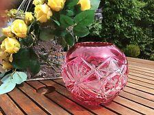 VAL ST LAMBERT - Vase boule - très belle taille et doublé canneberge