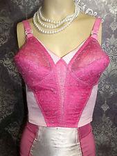 Vintage Longline Bullet Bra Carol Brent 1950s Pink Girdle Corset Lingerie 36B