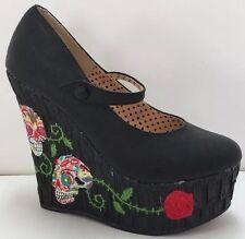 Bettie Page Shoes By Ellie Wedge Heels Dia De Los Muertes Sugar Skulls Womens 7M