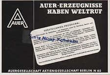 BERLIN, Werbung 1940, Auer-Gesellschaft AG - Glühstrümpfe Atemschutzgerät Neodym