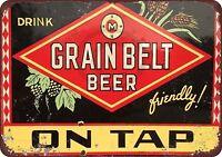 """Grain Belt Beer On Tap Rustic Retro Metal Sign 8"""" x 12"""""""