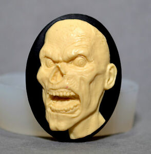 ZOMBIE silicone mould  resin fimo polymer clay plaster mold cupcake skull scary