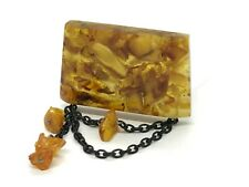 Old Vintage Amber BROOCH Antique Pressed Natural Baltic Amber Beads 15,3g 10003