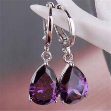 Women's Tear shape Silver purple Cublic Zircon Crystal Stud Hoop Earrings