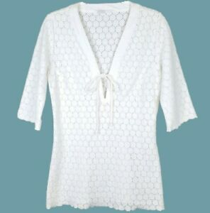 Size Small • Athleta White Crochet Eyelet Tie Front Tunic Top Beach Swim Coverup