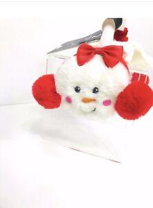 Christmas Snowman Earmuffs Faux Fur Plush LAURA ASHLEY Size 4-6 Small Nwt