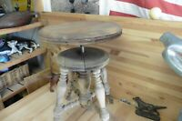 Vintage piano stool eagle claw glass balls seat all wood oak adjustable
