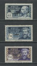 """1940 FRENCH EQUATORIAL AFRICA  lot 2 with """"LIBRE"""" mint*, Yvert # 110, 118, 119"""