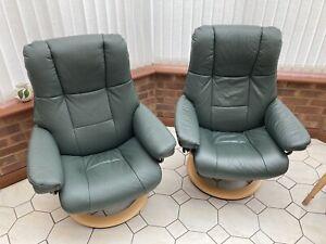 2 Ekornes Stressless Recliners In Green Leather