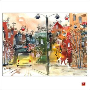 ❤️✦UNIKAT Aquarelle Original Zeichnung Bild Stadt Landschaft Laterne Auto ☘️2842