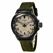 Citizen Eco-Drive Men's Beige Dial Green Military Strap 43mm Watch AW1465-14H