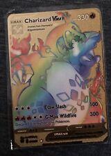 🇫🇷Carte Pokémon Dracaufeu Charizard VMax 🌈Rainbow Métal Gold Card Karten🥇