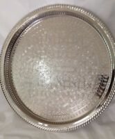 14.4 In Moroccan Handmade Serving Brass Tea Tray Large Silver Plated Morocco New