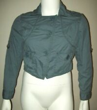 mossimo womens cropped jacket size xl gray blue pleated slant oversize buttons
